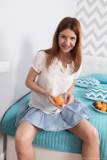 Atisha enjoys a muffin and masturbates in bed
