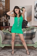 Chloe R strips off green dress and panties