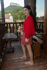 Elley Rey has fun showing off her red skirt
