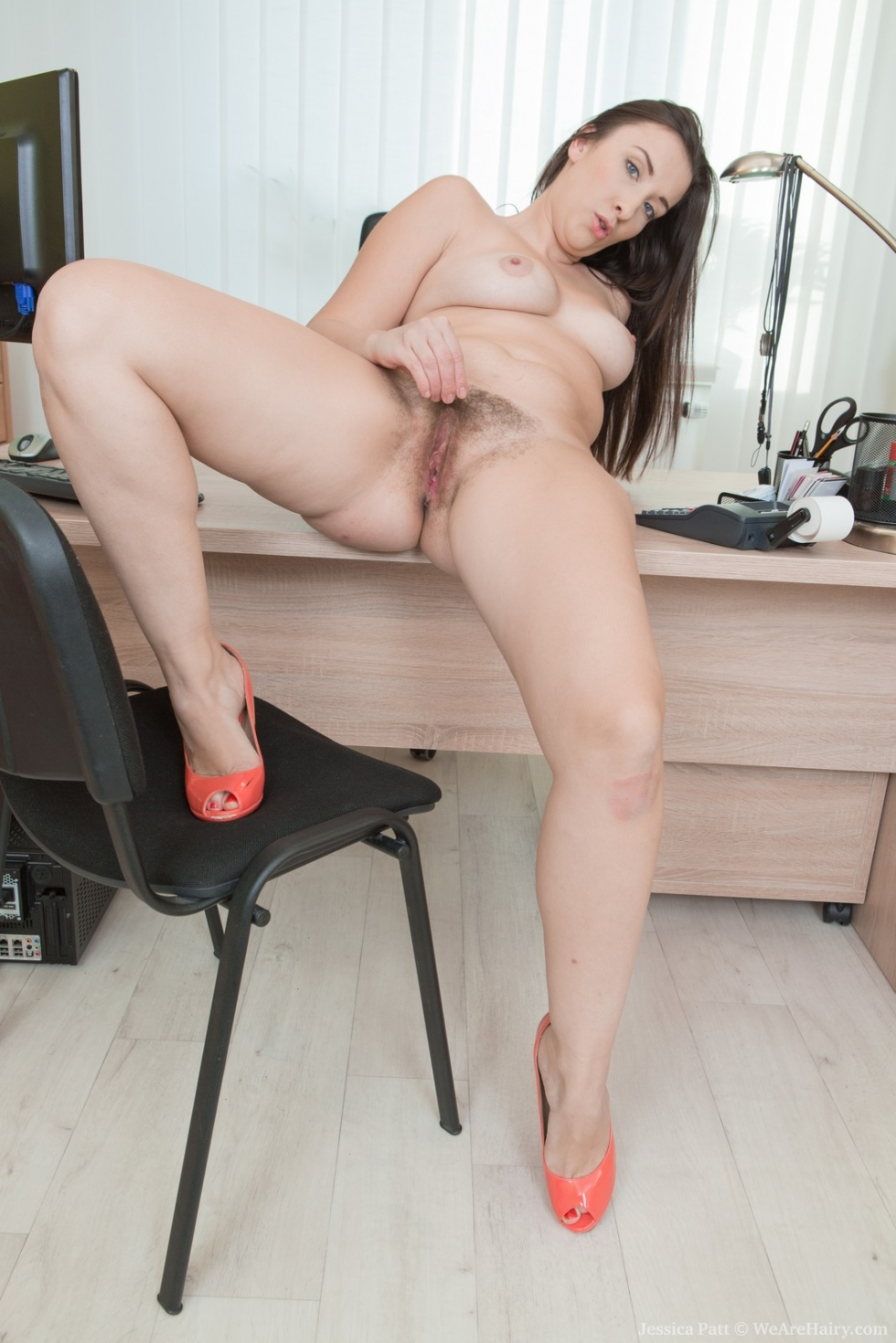 Alone in the office fucking dildo on a desk 6