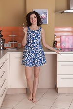 Laimites strips naked being sexy in her kitchen