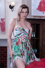 Leanne strips naked from her floral dress and bra