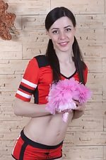 Maria Rosa strips off her cheering uniform