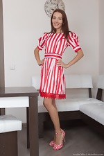 A sexy Scarlett Nika strips off striped dress