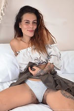 Sweet Mary Jane strips naked in her bedroom