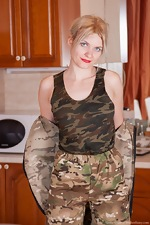 Greta Grace strips naked wearing camouflage
